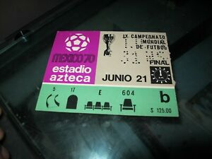 VGE MEXICO 1970 WORLD CUP FINAL TICKET   BRASIL vs ITALY COLLECTIBLE