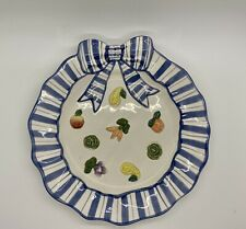 Fitz And Floyd Petite Vegetable Canape Plate Blue Bow Discontinued 1993