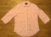 Ralph Lauren Women's Orange 3/4 Sleeve 100% Linen Dress Shirt - Size: Medium