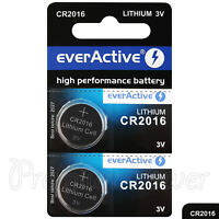 2 x everActive Lithium CR2016 batteries 3V Coin cell ECR2016 BR2016 Watches