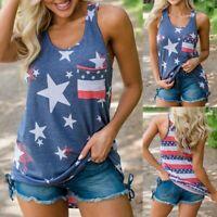 Women Sleeveless Patriotic Stripes Blouse Star American Flag Print Tank Top US