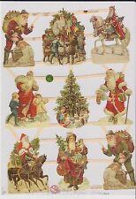1 Bogen Glanzbilder Poesie Weihnachtsmänner mit glimmer ef 7403 Nr.53