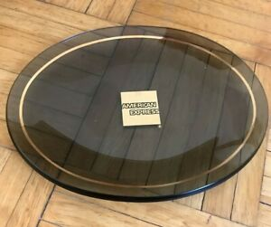"Vtg. Smoky Gray Glass Platter American Express logo Memorabilia Plate 8 1/4"""