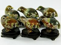 Vintage Cloisonne Copper Enamel Quail Partridge Figurine,Decoration & Collection