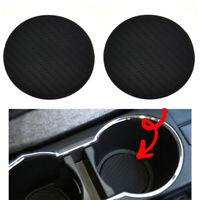 2Pcs Black Car Vehicle Water Cup Slot Non-Slip Carbon Fiber Look Mat Accessories