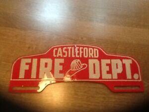 Vintage CASTLEFORD FIRE FIGHTER DEPARTMENT Advertising License Plate Topper