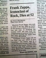 """FRANK ZAPPA """"The Mothers of Invention"""" Rock Band Front Man DEATH 1993 Newspaper"""