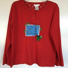 Secret Treasures Women's Dear Santa Postcard Letter Cute Christmas Top Medium