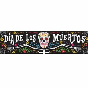DAY OF THE DEAD HALLLOWEEN BANNER Happy Skeleton Floral Wall Decoration - 1.2m