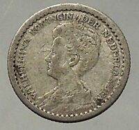 1917 Netherlands Queen WILHELMINA 10 Cents Wreath Authentic Silver Coin i57835