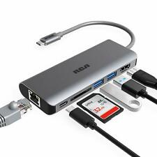 RCA 6 in 1 Type C USB Hub with Ethernet, 4K HDMI, 2 USB 3.0 Ports SD Card Reader