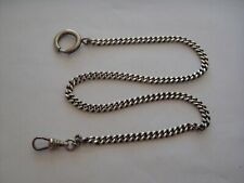 """GREAT Very clean 14"""" silver antique  pocket watch chain - sterling on clip"""