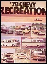 1978 Chevy Chevrolet RV Camper Motorhome Van Brochure