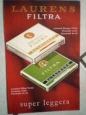PUBBLICITA FOGLIO RIVISTA sigarette LAURENS FILTRA ORANGE - ORIENT SUPER LEGGERA