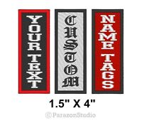 """Custom Embroidered Name Tag Patch Motorcycle Biker Vertical 1.5"""" X 4"""" (B)"""