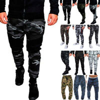 Mens Camo Cargo Jogger Jogging Running Pant Army Bottoms Track Sports Sweatpants