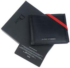 NEW DIOR HOMME BLACK SOFT LEATHER LOGO CREDIT CARD ID BIFOLD WALLET W/BOX