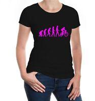 Damen Kurzarm Girlie T-Shirt The Evolution of biking Fahrrad Radsport bike