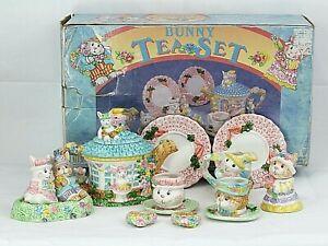Bunnies in the Garden Children's 14 piece hand painted Tea Set