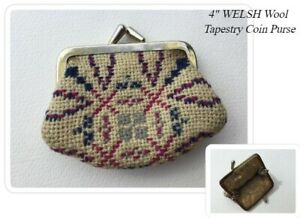"""Vintage WELSH WOOL Tapestry Coin Purse - 4"""""""