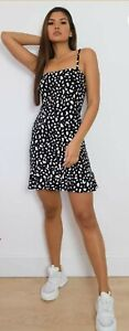 Missguided Petite Black Dalmatian Strappy Mini Dress Size 14