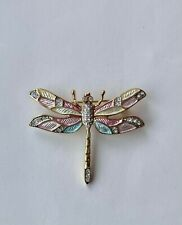 Crystals 45mm x 35mm Colourful Dragonfly Brooch Decorated With