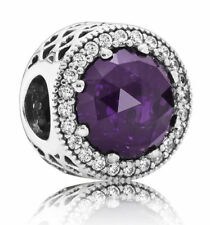 Authentic Pandora Charm--Hearts Royal Purple Crystal CZ 791725NRP Bead
