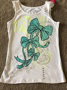 Justice Tank Top Ribbons Bows & Bling Cotton Stretch Size 18 Junior S NWT