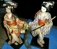 "2 LOT Vintage Japanese Geisha Dolls Figures in Kimono Wooden base 14"" Antique"