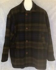 Abercrombie And Fitch Wool Plaid Peacoat Jacket Vtg Button Front Full Zip Mens L