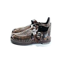 Proenza Schouler Brown Woven Leather Chunky Strap Sandals with Metal Accented...