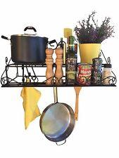 """Alilaw 23.5"""" steel 2 tier wall pot rack +10 large hooks,black,utensil pan holder"""
