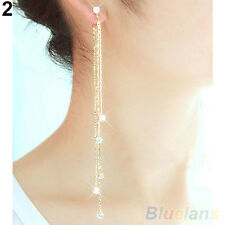 Women's Charm Rhinestone Super Long Tassels Drop Dangle Party Linear Earrings