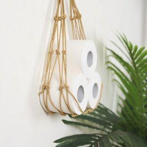Tissue Roll Storage Holder Toilet Paper Rope Hemp Bathroom Wall Hanging Rack