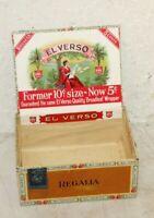"""Vintage El Verso Regalia Cigar Box - 5 Cents - 7 3/4"""" x 5 3/4"""" 3.5''  Empty box"""