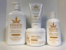 Hempz Milk & Honey Body Wash, Moisturizer, Body Whip, & Hand & Foot Creme - 4PC