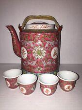 Oriental Design Porcelain ceramic Teapot 4 Cups Pink White Green 5 Piece Set