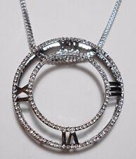 """Sparkly 53mm clock pendant, 28"""" silver colour chain"""