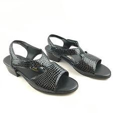 SAS Tripad Comfort Suntimer Black Croc Leather Ankle Strap Sandals Size 9.5 W
