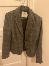 H&M Wool Blend Tweed Patches Style Plaid Blazer Jacket Womens Autumn Style