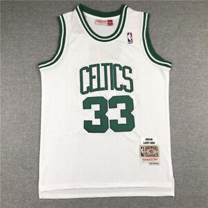 Men's Boston Celtics #33 Larry Bird White Hardwood Classics Throwback Jersey
