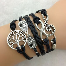 Infinity - Tree Of Life - Owl - Music Symbol Multi-layer Bracelet Braid HOT