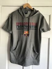FCB Barcelona Gray Short Sleeve Sweatshirt Hoodie Mens Size Large