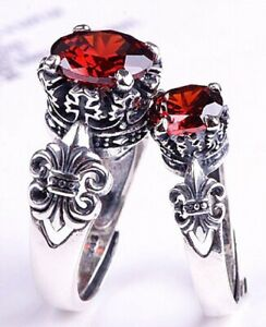 Terrific Solid 925 Silver Crown,Anchor Cross 12CT Ruby His& Hers Rings Set