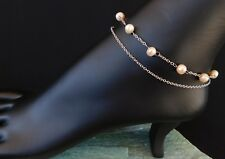 """Silver Band adjustable 9""""-10-1/2"""" Peach Pearl (freshwater) Anklet Sterling"""