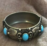 Vintage Cuff Bracelet Silver Metal Embossed Leaf & Oval Blue Stones Hinged