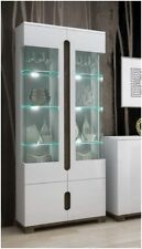 Lorenz High Gloss White Tall Glass Display Cabinet Unit Lounge Furniture LEDs