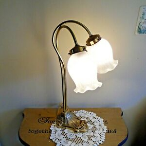 Table Lamp- Vtg. Double Gooseneck gold 2 Tulip Lamp Shades  Brass bronze 20""