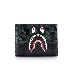 Mens Bape A Bathing Ape Shark Head Camo Card Holder Wallet Bag Purse Gift PU Hot