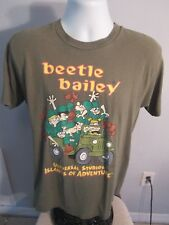 Beetle Bailey Army Green Universal Studios T-Shirt Sz Lrg Jeep Islands of Advent